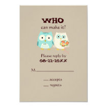Owls Wedding RSVP - Cute Bride and Groom Card