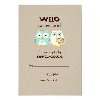 Owls Wedding RSVP - Cute Bride and Groom Card
