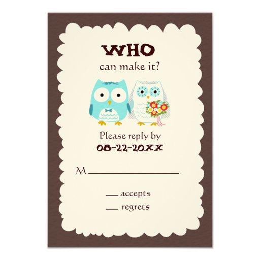 Owls Wedding RSVP - Cute Bride and Groom Custom Invites