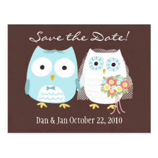 Owls Wedding Save the Date Cute Bride and Groom Postcards