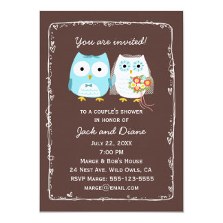 Owls Wedding Shower for Bride and Groom Card