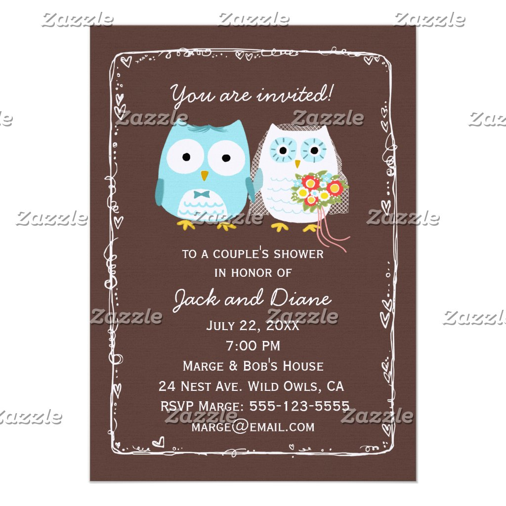 Owls Wedding Shower for Bride and Groom Custom Invitation