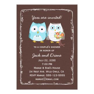 Owls Wedding Shower for Bride and Groom Custom Invitation