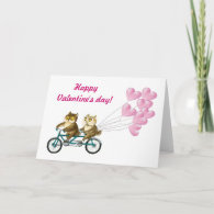 Owls with hearts greeting card
