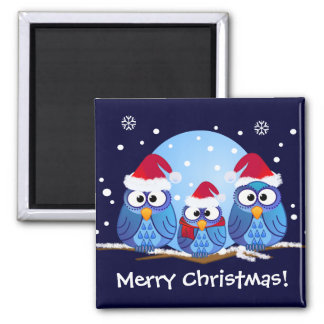 Owls with Santa hats 2 Inch Square Magnet