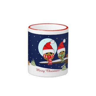 Owls with Santa hats and Xmas scarfs & custom text Ringer Mug