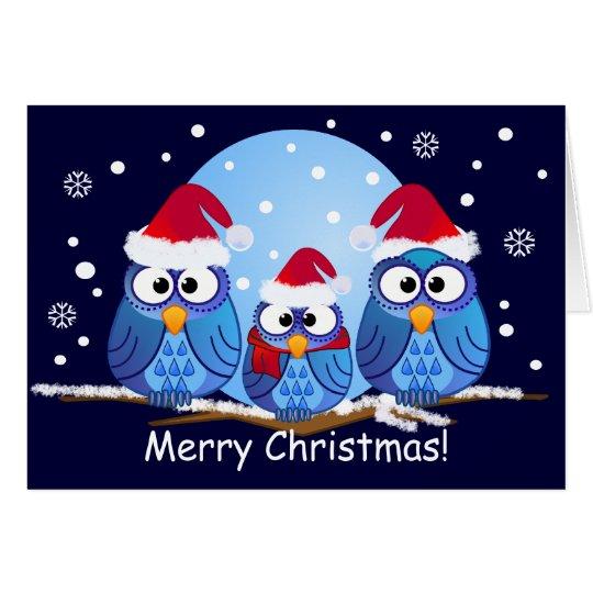 owls with Santa hats Card