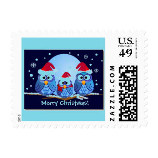 OWLS WITH SANTA HATS POSTAGE STAMPS