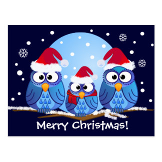 Owls with Santa hats Postcards