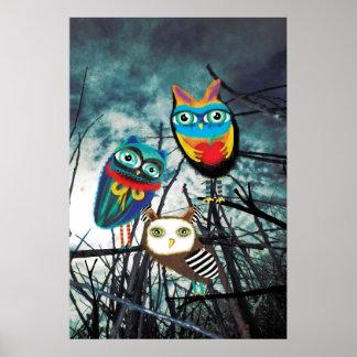 Owls Woodland Poster