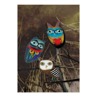 Owls Woodland Poster