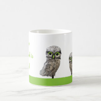 Owls You Need is Love Silver Burrowing Owl Art Coffee Mug