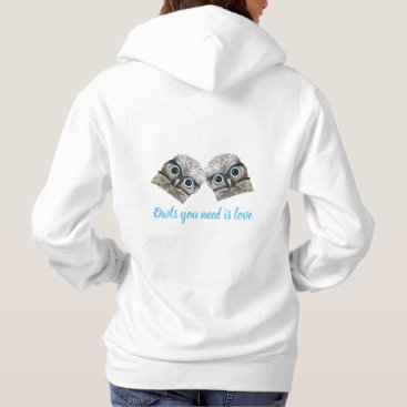 Beach Themed Owls You Need is Love Silver Burrowing Owl Art Hoodie