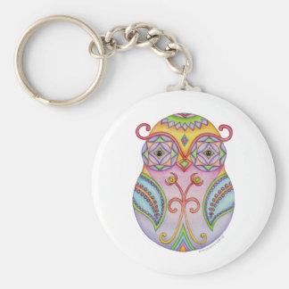 'Owlushka' Amethyst Basic Round Button Keychain