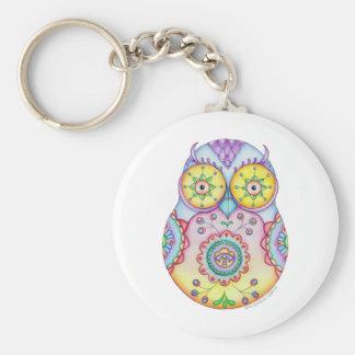 'Owlushka' Bright Eyes Basic Round Button Keychain