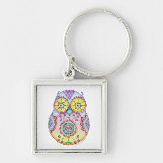 'Owlushka' Bright Eyes Silver-Colored Square Keychain
