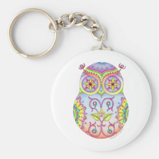 'Owlushka' Dreaming Basic Round Button Keychain