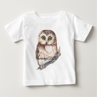 Owlways Cute Fun Quote Watercolor Little Owl Baby T-Shirt