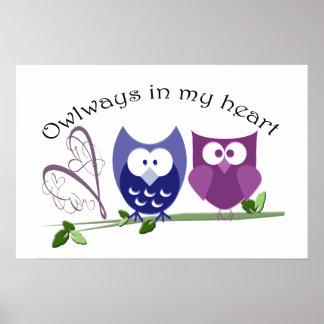 Owlways en mi corazón, poster lindo de los búhos