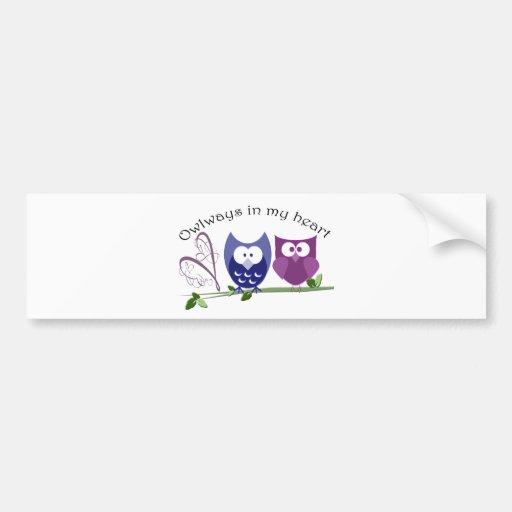 Owlways in my heart, cute Owl Gifts Bumper Sticker