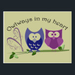 "Owlways in my heart, cute Owl Gifts Postcard<br><div class=""desc"">Cute Owls digital art design for romantics</div>"