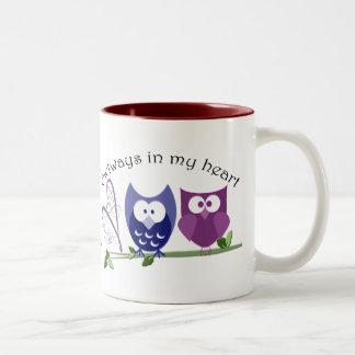 Owlways in my heart, cute Owl Gifts Two-Tone Coffee Mug