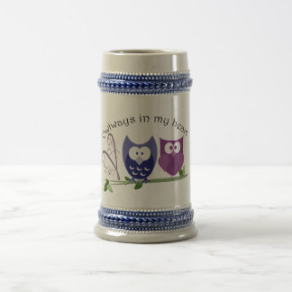 Owlways in my heart, cute Owls romantic gifts Beer Stein