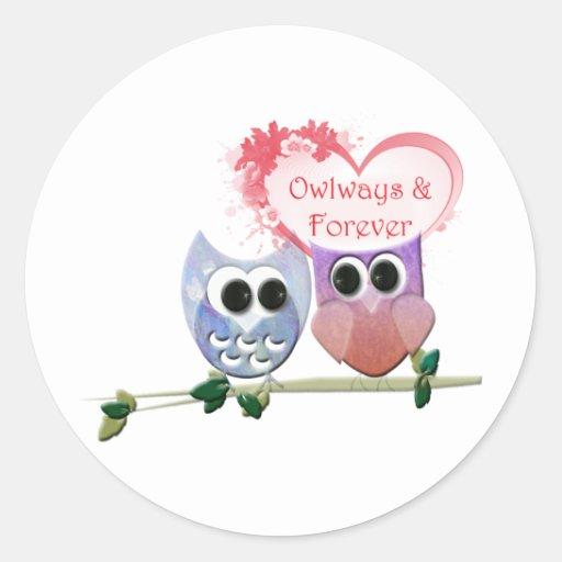Owlways y para siempre, búhos lindos pegatina redonda