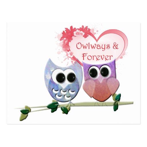 Owlways y para siempre, búhos lindos tarjeta postal