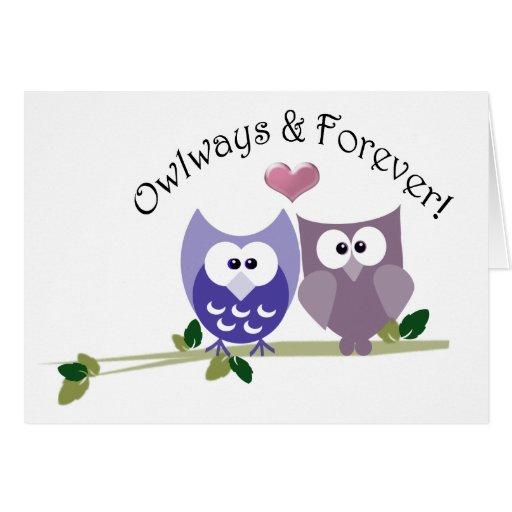 Owlways y para siempre, tarjeta linda de la