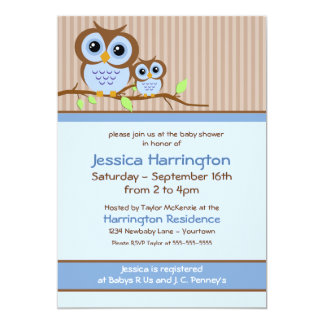 Owly Blue Baby Shower Invitations