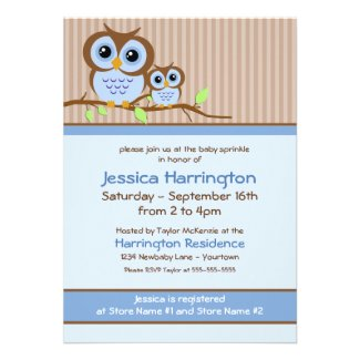 Owly Blue Baby Sprinkle Invitations