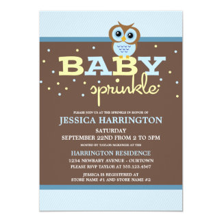 "Owly Blue Baby Sprinkle Invitations 5"" X 7"" Invitation Card"