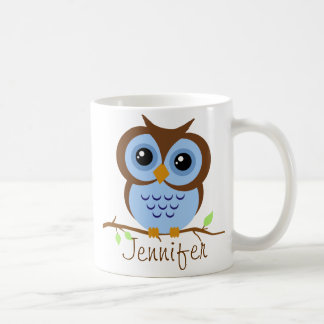 Owly Blue Personalized Coffee Mug