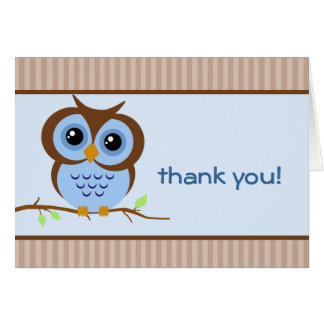 Owly Blue Thank You Card