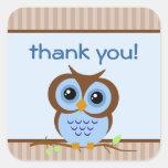 Owly Blue Thank You Sticker
