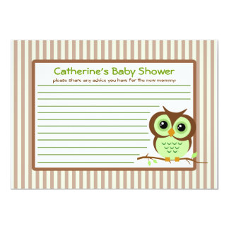 Owly Green Baby Shower Advice Card