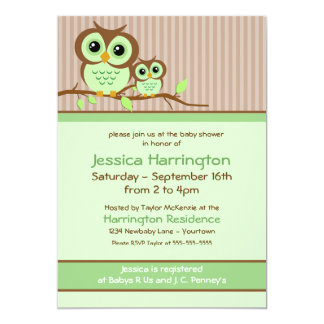 Owly Green Baby Shower Invitations