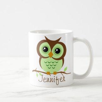 Owly Green Personalized Coffee Mug