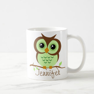 Owly Green Personalized Classic White Coffee Mug
