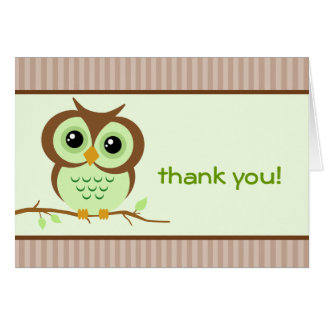 Owly Green Thank You Card Note Card