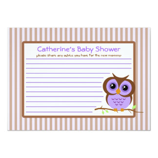 Owly Lavender Baby Shower Advice Card