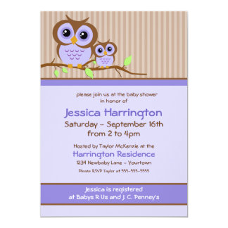 Owly Lavender Baby Shower Invitations