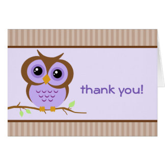 Owly Lavender Thank You Card