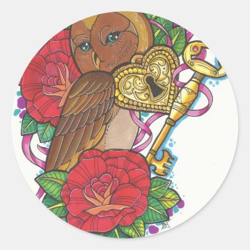 Owly Pegatina Redonda