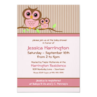 Owly Pink Baby Shower Invitations