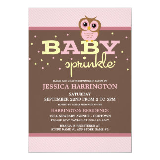 "Owly Pink Baby Sprinkle Invitations 5"" X 7"" Invitation Card"