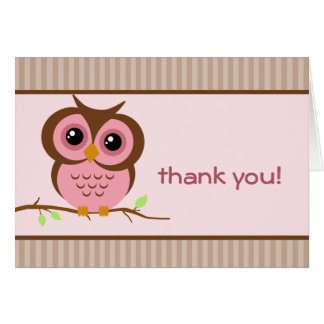 Owly Pink Thank You Card