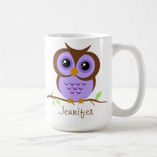 Owly Purple Personalized Coffee Mugs