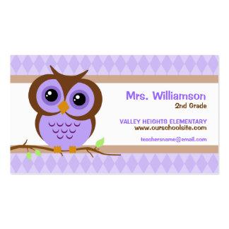 Owly Purple Teacher Business Cards